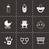 Vector black baby icons set. On black background Stock Photo