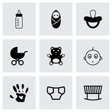 Vector black baby icons set Stock Photography