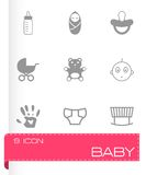Vector black baby icons set Stock Photo