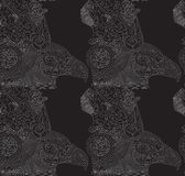 Vector black background with drawn eagles. Seamless texture stock illustration