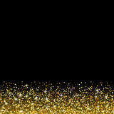 Vector black background with gold glitter sparkle Stock Images