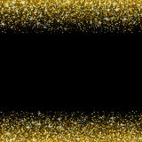 Vector black background with gold glitter sparkle Stock Image