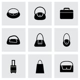 Vector black bag icon set Stock Image