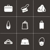 Vector black bag icons set. On black background Royalty Free Stock Images