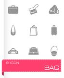 Vector black bag icons set Royalty Free Stock Photography