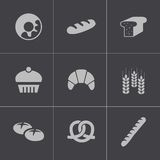 Vector black bakery icons set Royalty Free Stock Photography