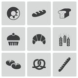 Vector black bakery icons set Royalty Free Stock Images