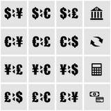 Vector black bank icon set. On grey background Stock Photos