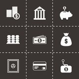 Vector black bank icons set Royalty Free Stock Image