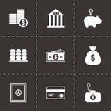 Vector black bank icons set. On black background Royalty Free Stock Image