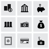 Vector black bank icons set Stock Photo