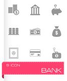 Vector black bank icons set Royalty Free Stock Images
