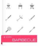 Vector black barbecue icon set Stock Photo