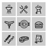 Vector black barbecue icons set Stock Photography
