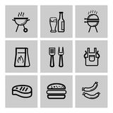 Vector black barbecue icons set Royalty Free Stock Photos