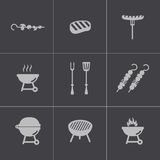 Vector black barbecue icons set Stock Image