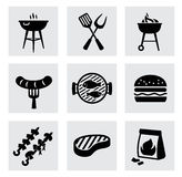 Vector black barbecue icons set on gray Stock Images