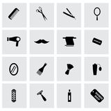 Vector black barber icons set royalty free illustration