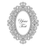 Vector black baroque frame with vertical oval ornament with text, decorative vintage design elements Stock Photography