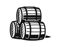 Vector black barrels. Icons on white background Stock Photography