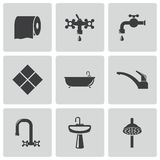 Vector black bathroom icons set Stock Image