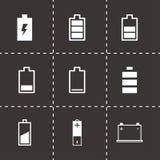Vector black battery icon set. On black background Stock Image