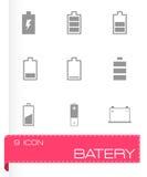 Vector black battery icon set Stock Photo