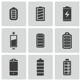 Vector black battery icons set Stock Photography