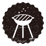 Vector black BBQ Grill icons on black background. Vector illustration Royalty Free Stock Image