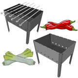 Vector black BBQ Grill with onions and red pepper on white background Stock Photos