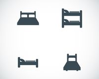 Vector black bed icons set Royalty Free Stock Photo