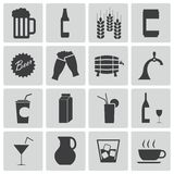 Vector black beer and  beverage icons Royalty Free Stock Photography