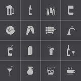 Vector black beer and  beverage icons set Royalty Free Stock Images