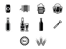 Vector black beer icons set. Beer vector icons set - bottle, glass, pint Royalty Free Stock Images