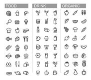 Vector black beverage, food, kitchen icons set Royalty Free Stock Photography