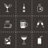 Vector black beverages icons set Stock Photo