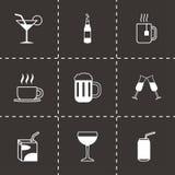 Vector black beverages icons set. On black background Stock Photo
