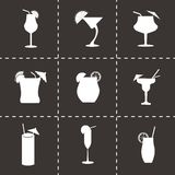 Vector black beverages icons set Stock Photography