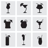 Vector black beverages icons set Royalty Free Stock Photo