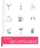 Vector black beverages icons set Stock Images