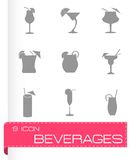 Vector black beverages icons set Royalty Free Stock Image
