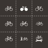 Vector black bicycle icon set Royalty Free Stock Images