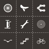 Vector black bicycle icons set. On black background Vector Illustration