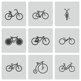 Vector black bicycle icons set Stock Photos