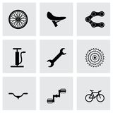 Vector black bicycle icons set. On grey background Royalty Free Illustration