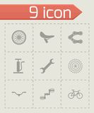 Vector black bicycle icons set. On grey background Vector Illustration