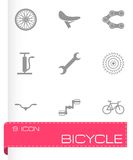 Vector black bicycle icons set. On white background Royalty Free Illustration