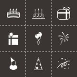 Vector black birthday icon set. On black background Royalty Free Stock Images