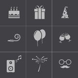 Vector black birthday icons set Stock Images