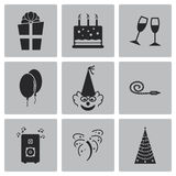 Vector black birthday icons set Royalty Free Stock Photos